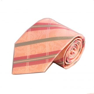Salmon, Grey Plaid Skinny Men's Tie w/Pocket Square