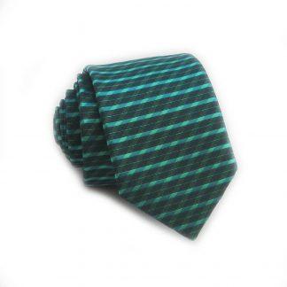Teal Horizontal Stripe Skinny Men's Tie w/ Pocket Square
