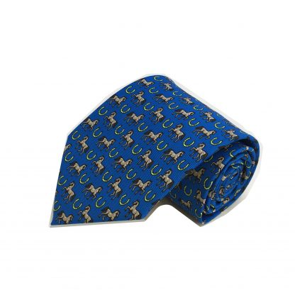 Blue Horses and Horse Shoes All Over Men's Tie