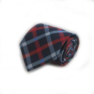 Navy, Red, Light Blue, Criss Cross Men's Tie w/ Pocket Square
