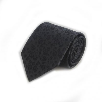 Black Floral Men's Tie w/ Pocket Square
