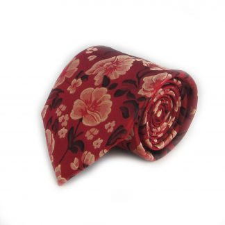 Red, Taupe Floral Men's Tie w/ Pocket Square