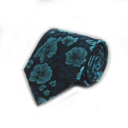 Turquoise, Blue, Black Floral Men's Tie w/ Pocket Square