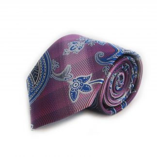 Fuschia, Blue Paisley Men's Tie w/ Pocket Square