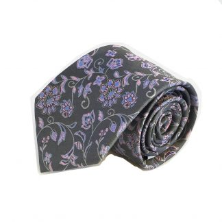 Charcoal, Pink Floral Silk Men's Tie