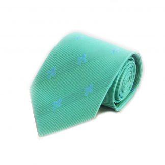Mint, Blue Fleur De Lis Men's Tie