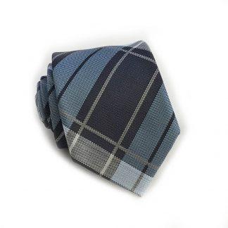 French Blue, Navy Plaid Skinny Men's Tie w/ Pocket Square