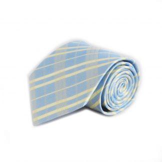 French Blue, Yellow Criss Cross Men's Tie