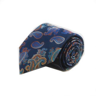 Navy, Orange, Teal Floral Paisley Men's Tie