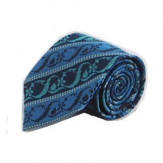 Blue, Teal, Black Floral Stripe Men's Tie