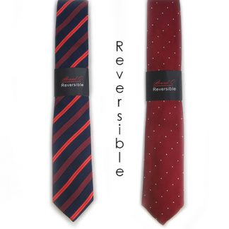 Navy, Red Stripe and Red, White Dot Reversible Men's Tie w/Pocket Square