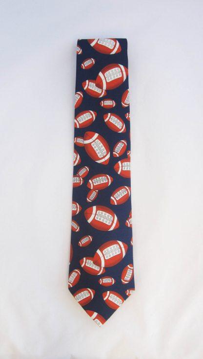Footballs on Navy Men's Tie 6118-0