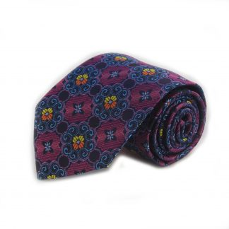 Pink, Light Blue, Yellow Floral Medallion Men's Tie