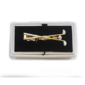 Gold and Silver Golf Clubs Tie Bar