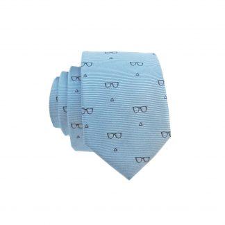 Blue Glasses Skinny Tie