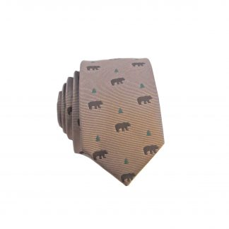 Khaki, Brown Bears Skinny Tie