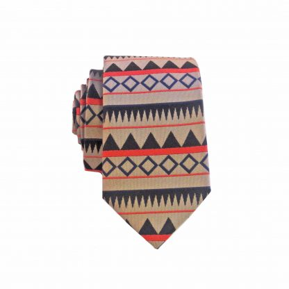 Khaki, Black Geometric Stripe Men's Skinny Tie