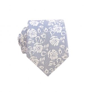 Navy Lace Floral Men's Skinny Tie