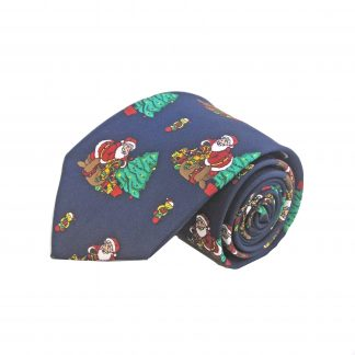Navy Santa and Christmas Tree Men's Tie