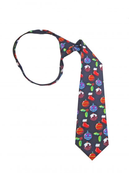 "14"" Boys Zipper Navy Ornaments Tie"