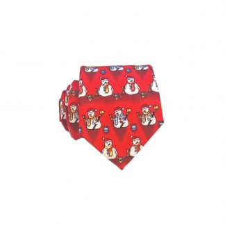 "49"" Boys Red Snowmen Tie"
