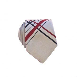 Silver, Burgundy Large Criss Cross Men's Skinny Tie