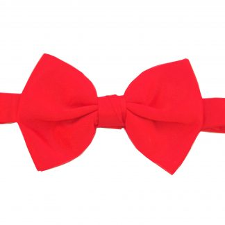 Red Solid Banded Bow Tie