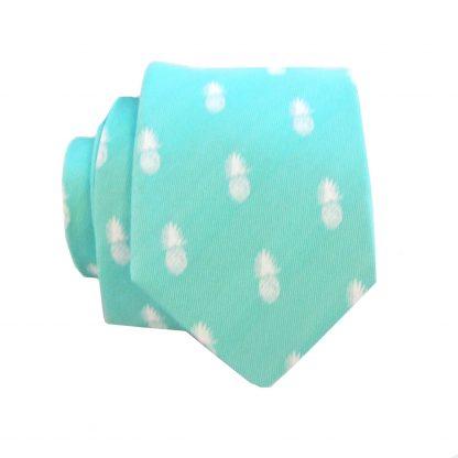 Tiffany Blue Pineapple Men's Skinny Tie