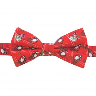 Red Penguins Banded Bow Tie