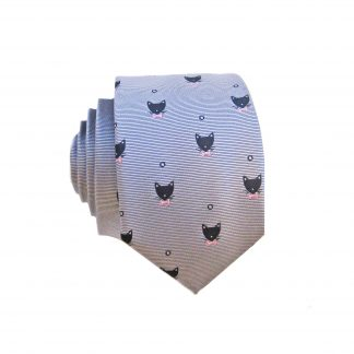 Black, Gray, Cat Head Skinny Tie