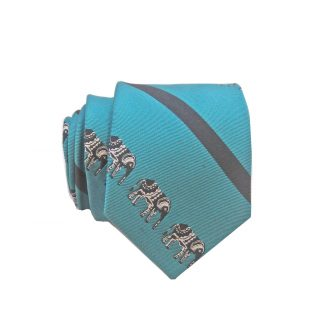Teal Blue Elephant Stripe Skinny Men's Tie