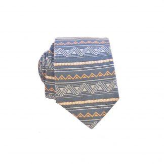 Charcoal, Orange Aztec Stripe Men's Skinny Tie