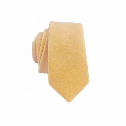 24302072a4f2 Gold Solid Wool Men's Skinny Tie