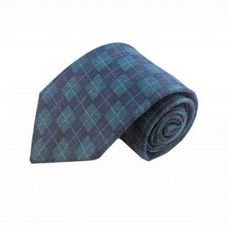 Navy and Hunter Argyle Wool Men's Tie