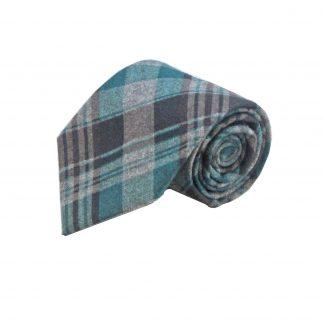 Teal and Grey Plaid Wool Men's Tie