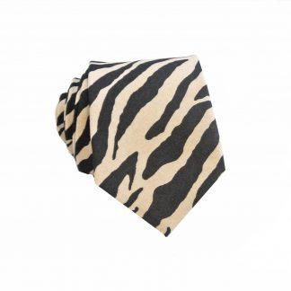 Black, Khaki Zebra Men's Skinny Tie,