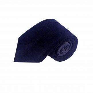 Navy Solid Velvet Men's Tie w/Pocket Square