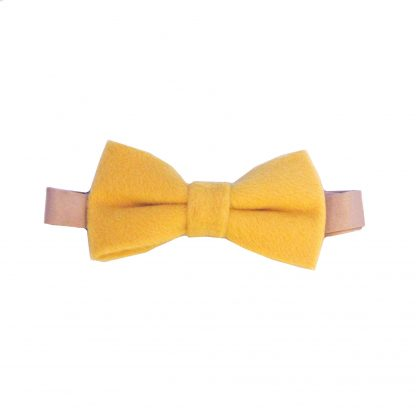 Gold Solid Wool Men's Banded Bow Tie