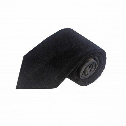 Black Solid Velvet Men's Tie w/Pocket Square