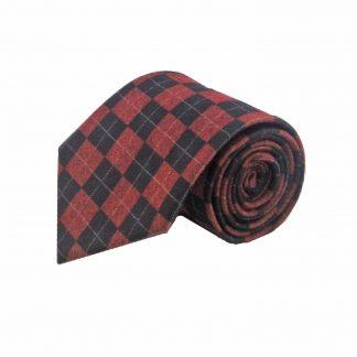 Red Black Argyle Wool Men's Tie
