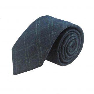 Navy and Grey Criss Cross Men's Wool Tie