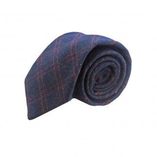 Navy and Red Criss Cross Wool Men's Tie