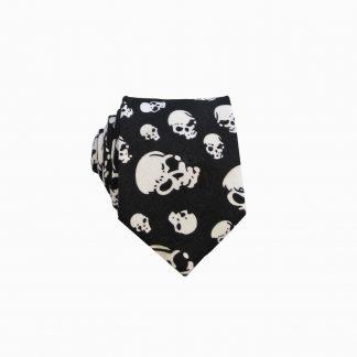 Black, White Skulls Men's Skinny Tie