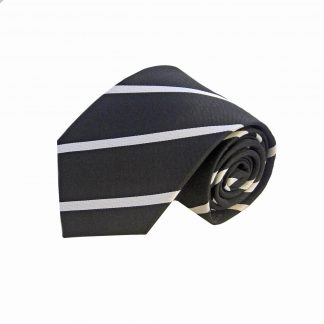 Black Silver Wide Stripe Men's Tie