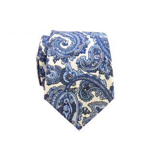 French Blue White Paisley Cotton Men's Skinny Tie