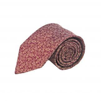 Burgundy, Cream Floral Silk Men's Tie