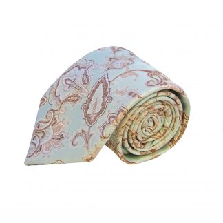 Mint Tan Floral Tie w/Pocket Square