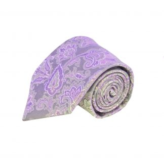 Purple Grey Floral Tie w/Pocket Square