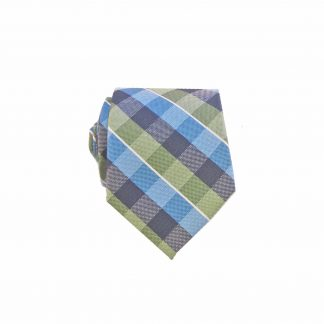 Blue Green Criss Cross Men's Tie w/Pocket Square