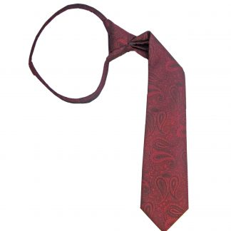 "14"" Zip Burgundy Paisley Boy's Tie"